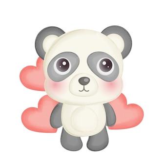 Um panda fofo com um coração vermelho