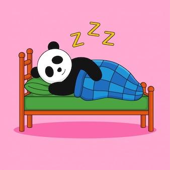Um panda fofo dorme na cama
