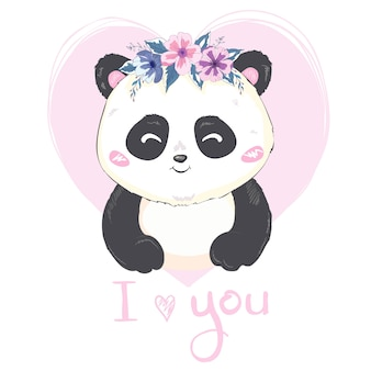 Um panda gigante bonito dos desenhos animados está sentado no chão