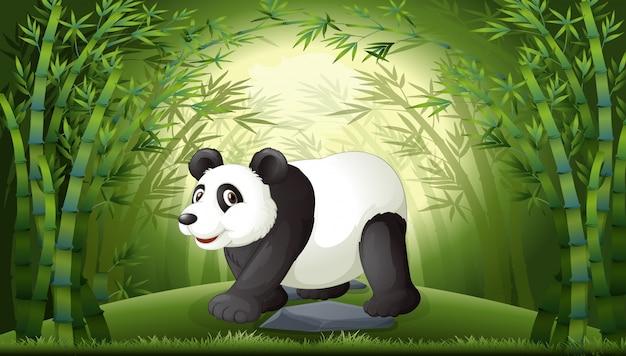 Um panda na floresta de bambu