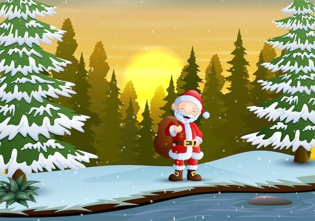 Um papai noel na paisagem de inverno
