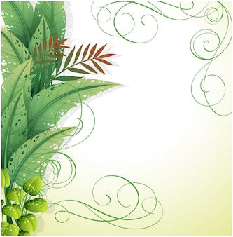 Um papel branco com plantas verdes