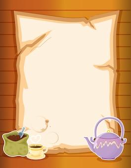 Um papel com café e uma chaleira