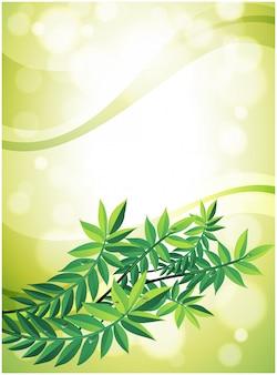 Um papel de carta verde com planta de folhas
