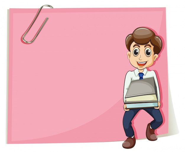 Um papel vazio rosa com um empresário carregando alguns documentos