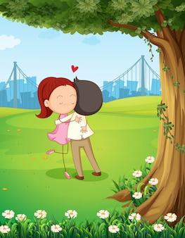 Um, par abraçando, um ao outro, perto, a, árvore