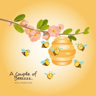 Um par de abelha personagem ilustração
