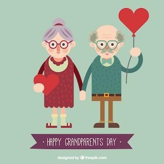 Um par de avós com corações em design plano