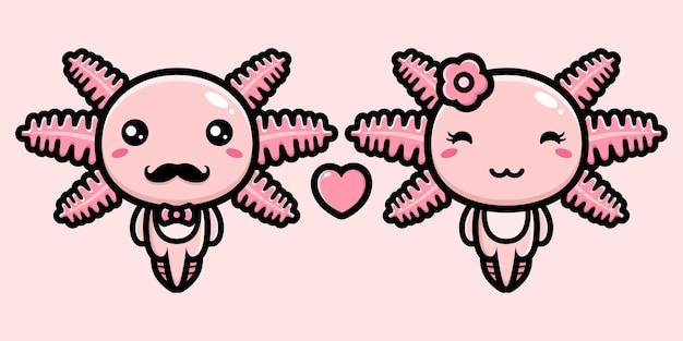 Um par de axolotes fofos apaixonados