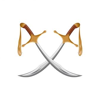 Um par de espadas turcas tradicionais cimitarra.