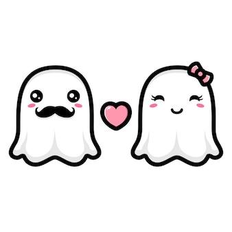 Um par de fantasmas fofos apaixonados