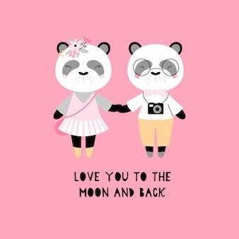 Um par de pandas bonitos.