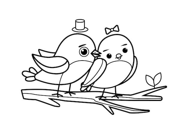 Um par de pássaros falando sobre o amor sentados lado a lado em um galho. imagem para colorir.