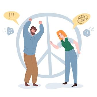 Um par de personagens de desenhos animados de vetor brigando, discutindo em uma cena de separação. relações pessoais saudáveis, emoções, comportamento social e conceito de psicologia familiar, design de banner de site da web