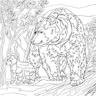 Um par de ursos na floresta para colorir livro versões monocromáticas esboço à mão livre para adultos anti stres ...