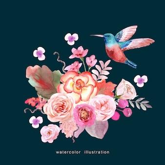 Um pássaro com buquê de flores