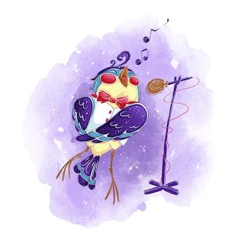 Um pássaro em um colete branco e gravata borboleta canta em um microfone.