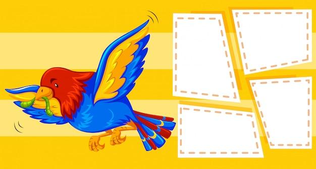 Um pássaro no fundo da nota