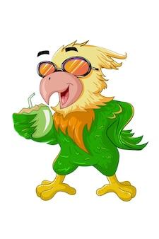 Um pássaro verde-amarelo de óculos traz a bebida de coco no verão
