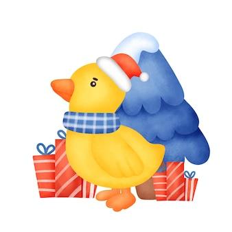Um pato bonito para cartão de natal em estilo aquarela.
