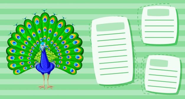 Um pavão no modelo de nota
