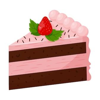 Um pedaço de bolo de morango com creme rosa, decorado com morangos