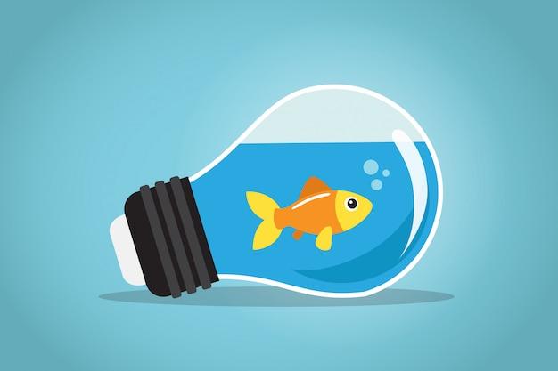 Um peixe dourado nadando na água de uma lâmpada