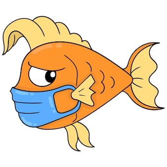 Um peixinho dourado de rosto desconfiado usa uma máscara para manter a saúde, arte de ilustração vetorial. imagem de ícone do doodle kawaii.