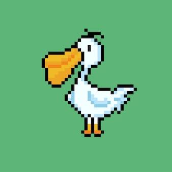 Um pelicano com estilo pixel art