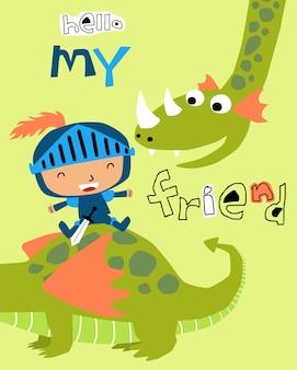 Um pequeno cavaleiro cartoon sentado na parte traseira do dragão