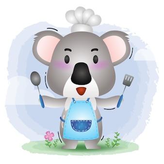 Um pequeno chef coala fofo