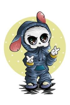 Um pequeno crânio bonito vestindo uma jaqueta cinza azul