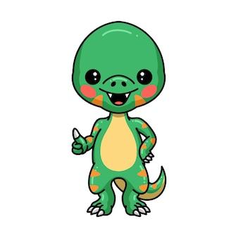 Um pequeno desenho animado de dinossauro desistindo do polegar