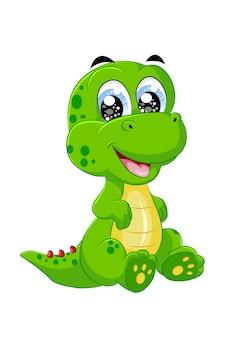 Um pequeno e bonito dinossauro verde amarelo, desenho animal cartoon