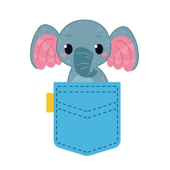 Um pequeno elefante parece de um bolso azul ilustração vetorial no estilo cartoon para crianças