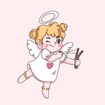 Um pequeno personagem de desenho animado cupido