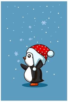 Um pequeno pinguim bebê com cristal de gelo no natal