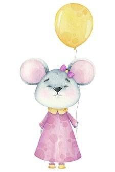 Um pequeno rato em aquarela com um balão de aniversário.