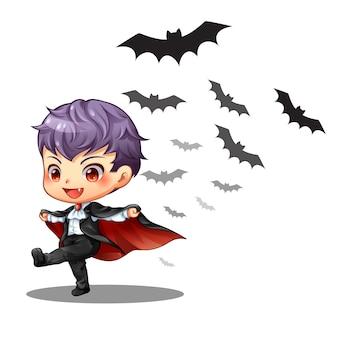 Um pequeno vampiro menino e morcego no halloween
