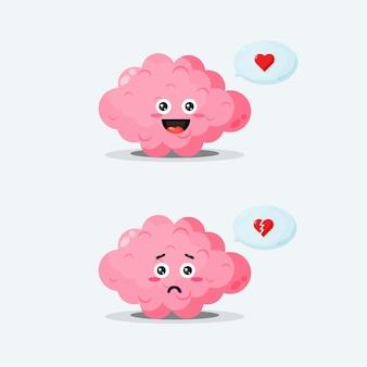 Um personagem cerebral fofo com expressões felizes e tristes