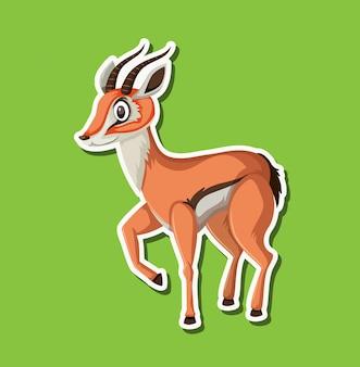 Um personagem de adesivo de gazela