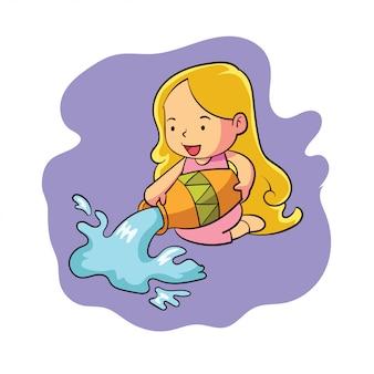Um personagem de aquário doce zodíaco