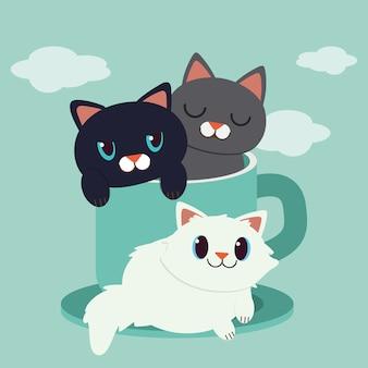 Um, personagem, de, cute, gato, sentando, em, a, copo verde