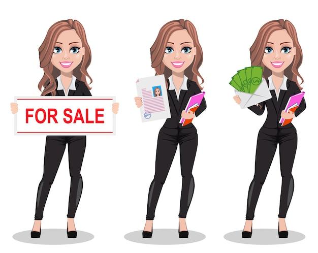 Um personagem de desenho animado de agente imobiliário