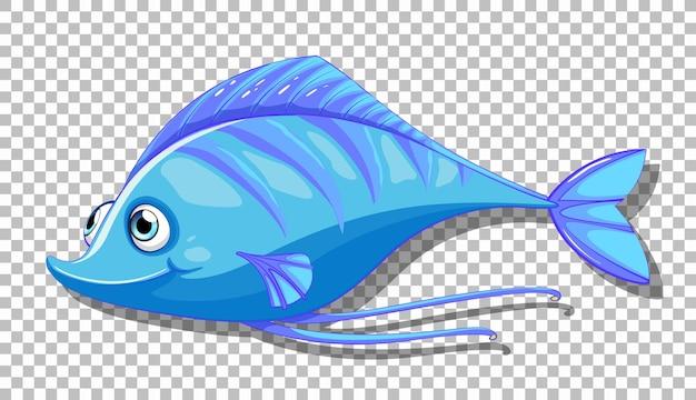 Um personagem de desenho animado de peixe isolado em transparente