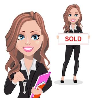 Um personagem de desenho animado de um agente imobiliário com duas poses