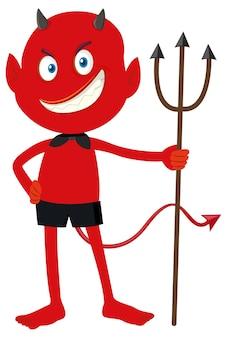 Um personagem de desenho animado do demônio vermelho com expressão facial