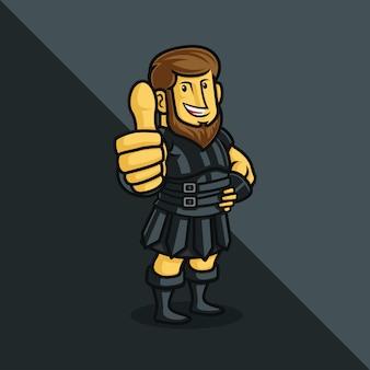 Um personagem de desenho animado do soldado romano desistindo polegares