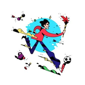 Um personagem de desenho animado está correndo com uma tocha