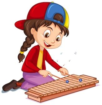 Um personagem de desenho animado feminino tocando xilofone